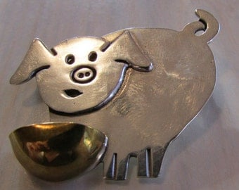 Whimsical Sterling Silver Pig Pin