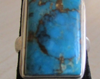 Sterling Silver and Turquoise Ring Size 6 3/4