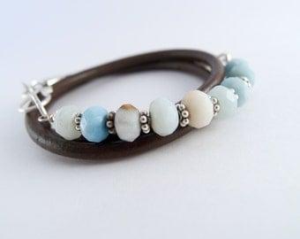 Leather Wrap Bracelet for Women ~ Amazonite  ~ Wrap Bracelet ~ Gemstones ~ Sterling Silver ~ Sundance Wrap Bracelet ~ Stackable ~ Boho Style