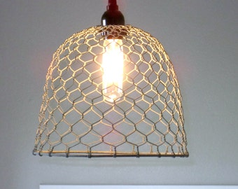 Rustic Pendant Lighting-chicken wire, farmhouse, pendant light, lighting, rustic lighting  kitchen lighting