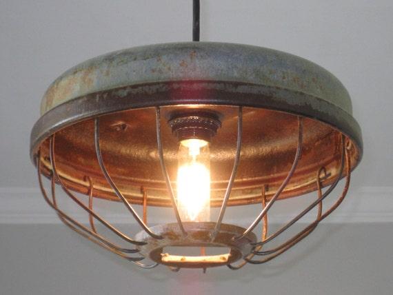 like this item  industrial chicken feeder pendant lighting vintage kitchen  rh   etsy com