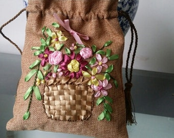 Flower Ribbon Embroidery with Charcoal Bag Inside , Completed Ribbon Embroidery Needle Work