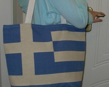Flag Tote Bag, Greece Flag, Big Beach Bags, Greece Flag Bag, iPod Tote Bag, Large Bags Totes, Navy Blue Hand Bag, Great Gifts from Greece.