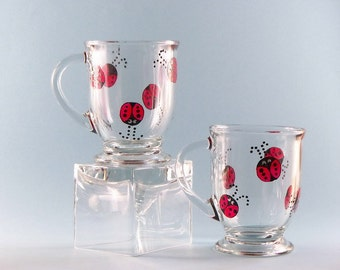 Ladybug Coffee Mugs - Hand Painted Coffee Mugs - Ladybug Mugs - Set of Two