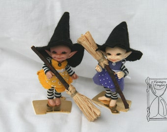 Easter or Halloween witch realpuki set with dress, hat, apron, leggings and broomstick