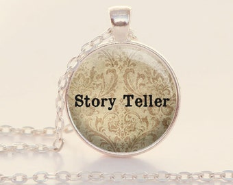 Story Teller - Quote Necklace - Storyteller - Author - Reader - Writer - Librarian Gift (B4133)