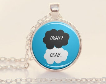 Okay Okay - The Fault in Our Stars - John Green - Silver Book Quote Charm Necklace (B2197)