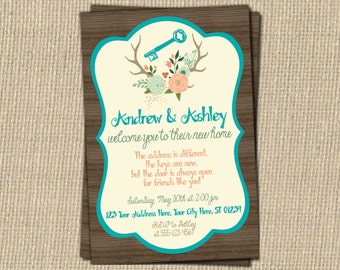 Rustic Floral Housewarming Party Invitation - Floral Antlers House Warming Invitation