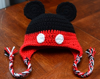 Mickey Mouse hat, Crochet Mickey Mouse hat, Disney Mickey Mouse hat
