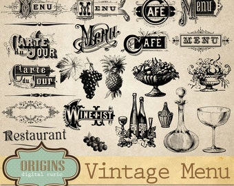 Vintage Menu Vectors Clipart, Wine List Typography, Antique Restaurant Clip Art, Commercial Use digital instant download