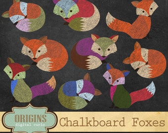 Chalkboard Foxes Clipart - PNG clip art set, Forest woodland animals, chalk baby fox Clip Art for commercial use instant download