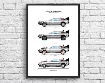 Art-Poster 50 x 70 cm - Delorean DMC-12  (Back to the Future)