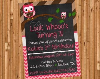 Cute Owls Birthday Invitation (Printable)