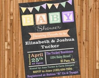 Baby Blocks Gender Neutral Printable Baby Shower Invitation