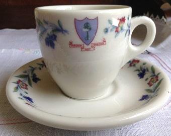 Syracuse Railroad China Demitasse Cup and Saucer Virginia Hot Springs