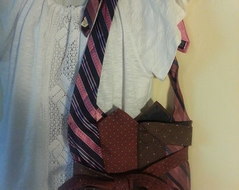 Nook, Kindle, E-Reader, Messenger Bag - Silk Tie Purse