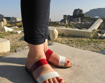 Handmade stripe sandals with cowhide leather in read and white combination