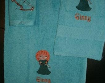 Personalized Merida Princess Brave 3 piece Towel Set Bathtowel, Handtowel,  & Washcloth