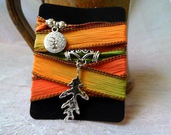 READY TO SHIP! - Silk Wrap Bracelet - Turning Leaves - Gypsy Wrap Bracelet, Boho Wrap Bracelet, Autumn Bracelet, Bohemian Wedding