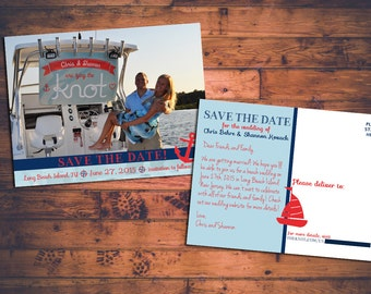 Customizable Save-the-Date Beachy/Nautical/Sailing Postcard with Engagement Photo