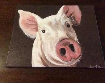 Canvas Pig art print from original canvas painting Pig art, pig decor