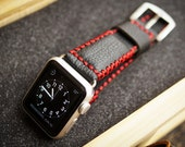 Handmade Vintage Leather Strap Red Tribal Stitching incl. Lugs Adapter for Apple Watch (or Apple Watch Sport) 42mm or 38mm