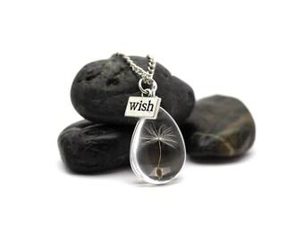 Dandelion Necklace - Dandelion Seed Necklace - Terrarium Necklace - Make a Wish Necklace - Dandelion Jewelry - Botanical Necklace -LT-439