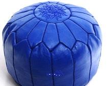 Navy Blue Leather Poufs/Ottomans - Sold UN-STUFFED