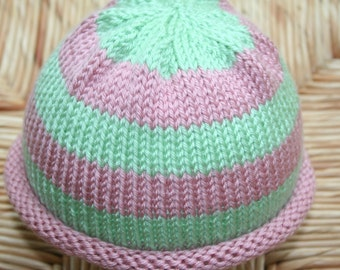 Hand Knit Baby Hat with Pink and Green Stripes / Toddler Hat / Baby Beanie