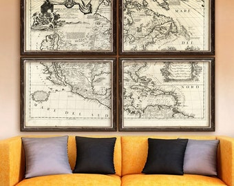 """Old America map 1688 Historical map of America, 5 sizes up to 64x48"""" (160x120 cm) 1 or 4 parts, map of US Canada - Limited Edition of 100"""