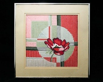 Needlepoint Framed Picture - Deco Style Poppy Flower - Poppies - Pink - Rouge - Sage Green - Expertly Done - Framed - 13.25 x 13.25 - R2046