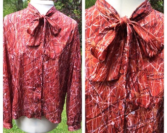 Vintage Pussy Bow Blouse Butte Knit Granny Chic Secretary Teacher Boho Chic Bohemian 42in Bust Made In UK