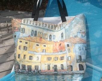 Tote Canvas tote bags, Gustav Klimt pictured bag, beach bag, handmade in France, trendy ladies handbags, canvas bags