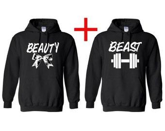 Beauty and Beast Matching Hooded Sweatshirts~ couple hoodies~ beauty and beast sweatshirts~ mr and mrs