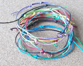 Cord Slider ANKLET & Link Surfer Knotted Beach Swimming Festival Waxed Rope