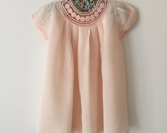 1938 Pale Pink Silk Crepe Child's Afternoon Dress Set Macy's New York