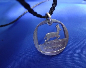 "One Rand Cut Coin Pendant by ""The Coins Shop"" Origin-South Africa,Design-Springbok"