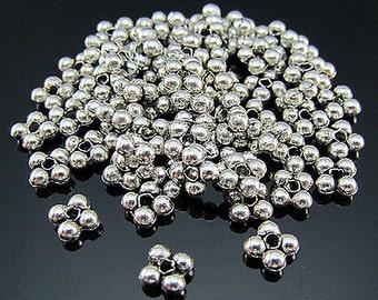 Snowflake silver Tibetan spacer bead 25 beads 6 mm