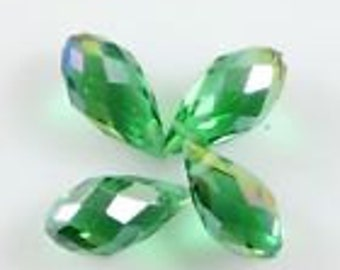 Swarovski 6*12mm Teardrop Crystal beads A grass green AB 6 beads
