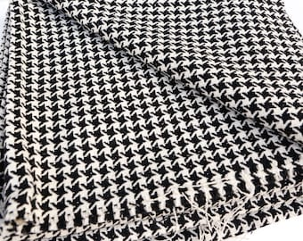 Black and Off White Shimmer Wool Blend Houndstooth Tweed by the Yard Fashion Fabric  ATW00022