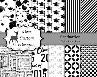 Graduation Digital Paper Pack | 12 Digital Scrapbook Papers | Instant Download | Commercial Use | Grad Graduate Graduation Stripes 2014 2015