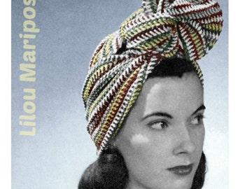 Crochet Striped Turban Pattern Vintage 40s Crochet Headband Pattern Hair Net Pattern Crochet Head Wrap Pattern