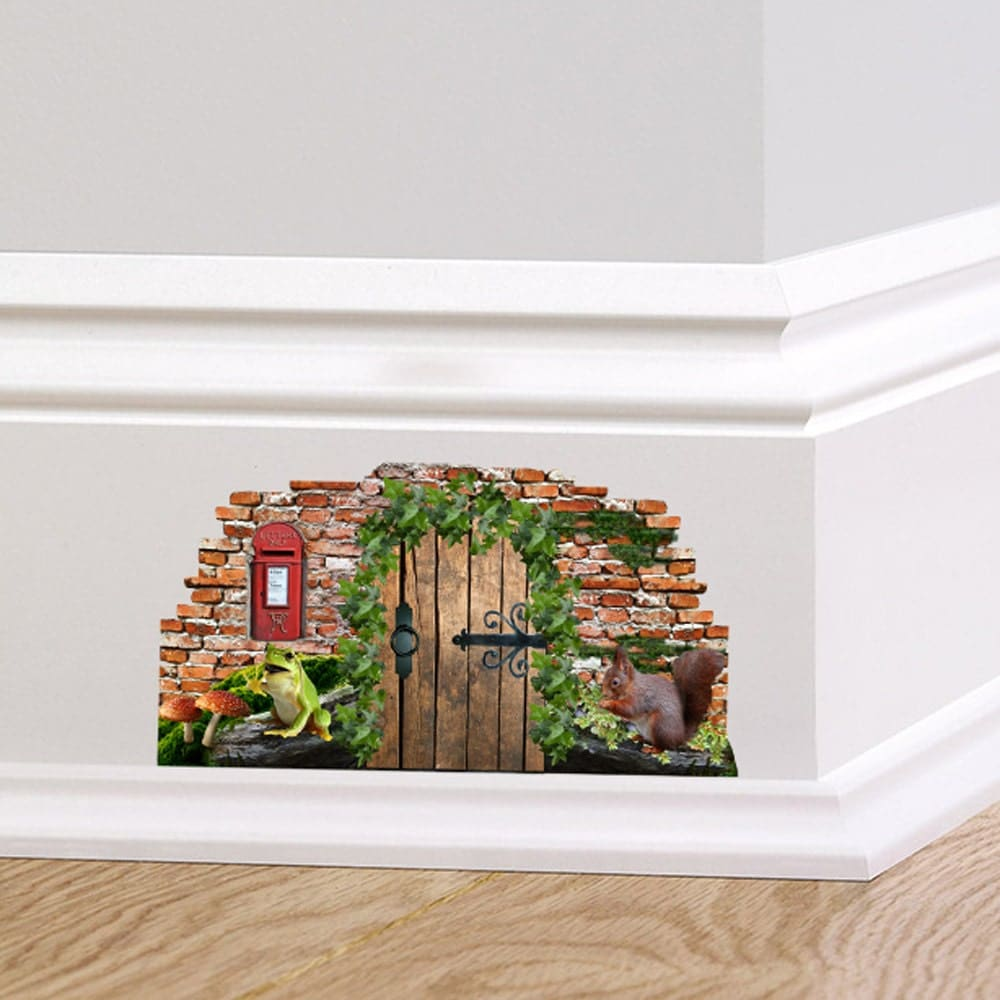 Woodland fairy cottage door wall decal sticker mural skirting for Door mural stickers