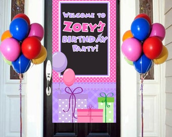 Happy Birthday Door Banner  ~ Birthday Personalize Welcome to the Party Banner Vertical Banner