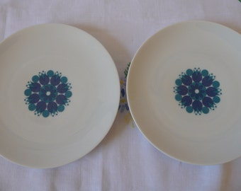 "Pair of Retro 1960s Thomas China 'Medaillon' Side Plates  17.5cms or 7"""