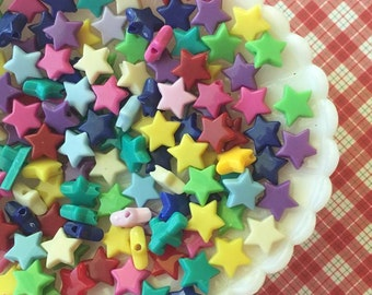 Star Beads - 10mm Star Shaped Beads - 200 pcs - Colorful Acrylic Star Beads