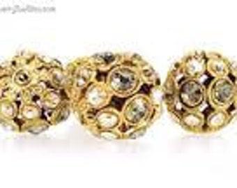 SWAROVSKI Encrusted 13mm Filigree Ball - Antique Gold / Black Diamond / Golden Shadow