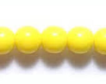 Czech Glass Druk 6mm - Pack 35 Beads - Yellow Opaque