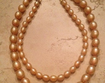 Vintage Necklace Pink Luster Waterfall Lucite Bead Costume Jewelry