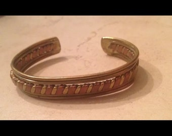 Vintage Brass and Copper Cuff Bracelet Boho Jewelry